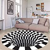 3D Area Rug Floor Mat Round Carpet 3D Mat Rug Swirl Print Optical Illusion Floor Pad, Checkered Vortex Optical Illusions Non Slip Area Rug, for Living Dinning Room Bedroom Kitchen (31.531.5 in)