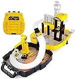 ZXHFDC DIY Mobile Garage Parking Toy Fácil de llevar Juguetes educativos 2-6 años Partículas grandes Modelo de coche para niños Mochila de pista ABS Plástico en caja Juguetes para niños Regalos de cum