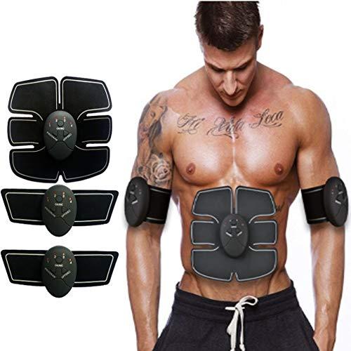 Electroestimulador Muscular Abdominales,6 Modos y 10 Niveles de Intensidad,Entrenador Muscular Abdominal con USB Recargable,Abdomen Glúteos Piernas (Hombres Mujeres)