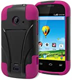 Prelude 2 (Zinger) Case - Bastex Heavy Duty Kickstand(T-Stand) Case - Soft Pink Silicone Cover with Hard Black T-Stand Case for ZTE Prelude 2 (Zinger) Z667