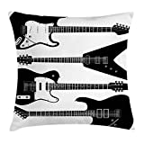 XIAOYI Music Throw Pillow Cushion Cover, Black and White Electrical Guitars in Four Six String Instruments, Decorative Square Accent Pillow Case, 18 X 18 Inches, Black White