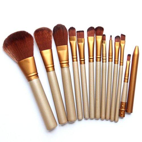 Drawihi 12 pcs Pinceau de Maquillage Trousse de Maquillage Doré Crayon à Sourcils Crayon Brosse de Maquillage