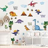 Runtoo Pegatinas de Pared Dinosaurios Stickers Adhesivos Vinilo Palma Árbol Decorativas Infantiles Habitacion Bebe