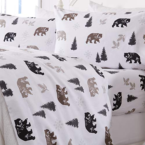 Great Bay Home Extra Soft Printed 100% Turkish Cotton Flannel Sheet Set. Warm, Cozy, Luxury Winter Bed Sheets. Belle Collection (King, Rustic Bear)