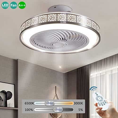 Fan Deckenventilator LED 72W Deckenleuchte Mit Beleuchtung Fernbedienung Einstellbare Windgeschwindigkeit Dimmbar Ultra Leise Deckenlampe Moderne Ventilator Lampe Schlafzimmer Wohnzimmer,Silber