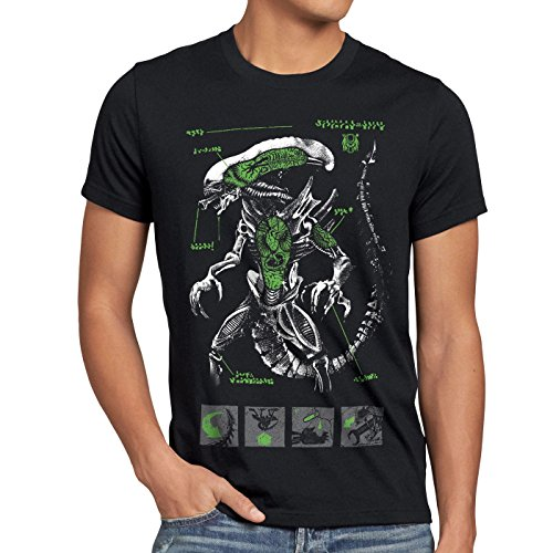 style3 Xenomorph Alien Herren T-Shirt Ripley Kino Prometheus Nostromo, Größe:M, Farbe:Schwarz