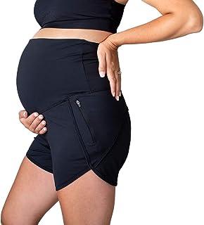 "Movemama Maternity Athletic Shorts, Full Bellyband, Active Maternity Shorts, 4.5"" Inseam, Zip Pockets"