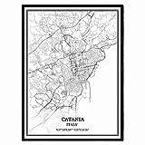 Catania Italien Karte Wandkunst Leinwand drucken Poster