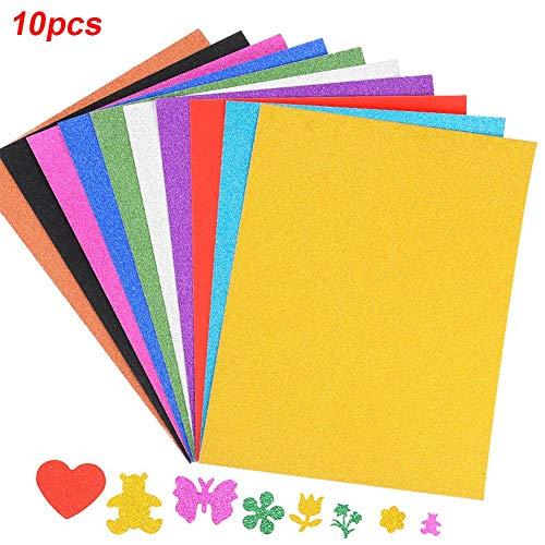 LZDseller01 10 X Glitter A4 Pad, Selbstklebende Glitter Blätter geprägtes Papier, Glitter Schaum Blatt funkelt für Scrapbooking, Xmas Card Making, Inneneinrichtungen, Party Crafts-Multicolors