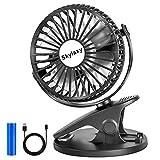 Skylaxy Stroller Fan, Clip on Mini Desk Fan, Rechargeable Portable Fans Battery Operated, Black.