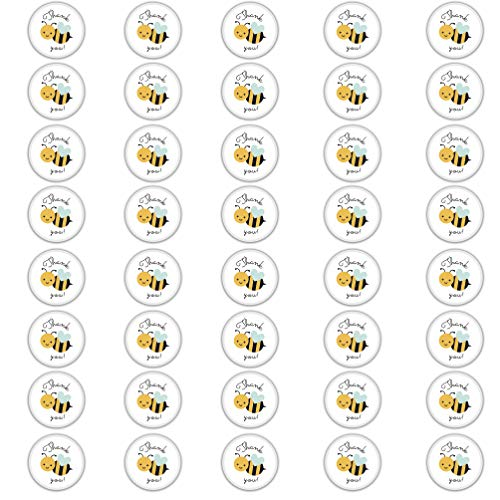 Edward & Co Set of 40 Sticker Bumblebee Thank You Bee Decal Small Phone Mini Logo Birthday Parties Envelopes Labels Seals Shower Favor 1.2 inches Each
