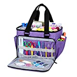 YARWO Sewing Accessories Organizer, Craft Storage Tote Bag with Pockets for Sewing Accessories and Craft Supplies, Purple