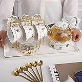 Tea Sets European Afternoon Tea Coffee Cup Heat-Resistant Glass Flower Teapot Set Candle Heating Fruit Teapot Teacup for Tea