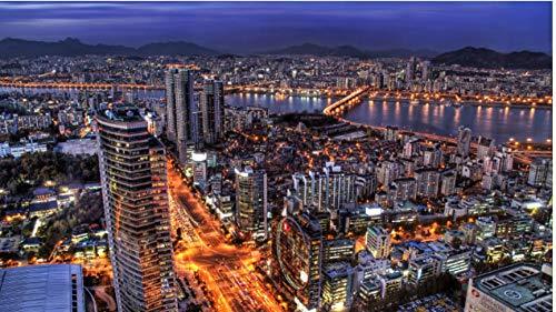 NOBRAND Rompecabezas De 1000 Piezas Corea del Sur Seúl Ciudad Capital Tarde Rascacielos Luces Puzzle DIY Art