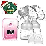 Sacaleches eléctrico Extractor de leche eléctrico doble Recargable Pantalla LCD digital con Función de Masaje y Memoria