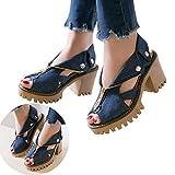 Clearance! Swiusd Womens Zip Clousure Cuffed Denim Sandals Non Slip High Heel Peep Toe Sandals Trendy Thick Platform Beach Shoes (Dark Blue, 7 M US)