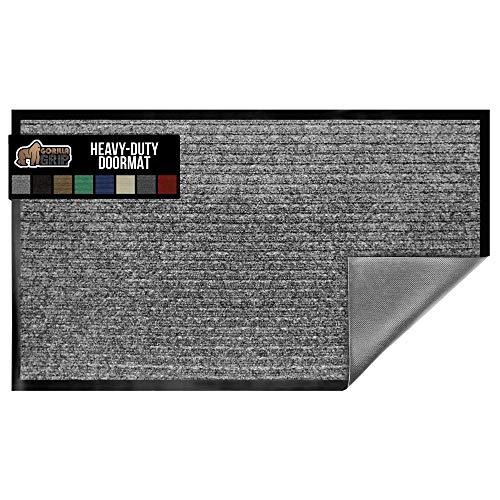 Gorilla Grip Original Low Profile Rubber Door Mat, 29x17, Heavy Duty, Durable Doormat for Indoor and Outdoor, Waterproof, Easy Clean, Home Rug Mats for Entry, Patio, High Traffic, Light Gray