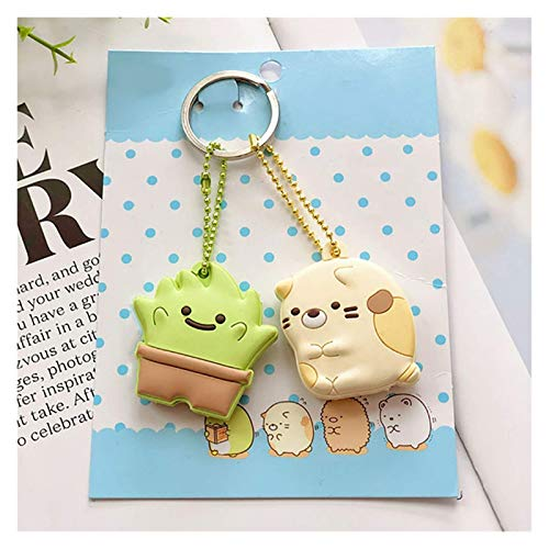 FSJIANGYUE Keychain Cute Key Cap Key Covers Rings Key Identifier Tag Organizers Silicone Keychain Holder With Ball Chain (Color : Green) (Color : Gold Color)