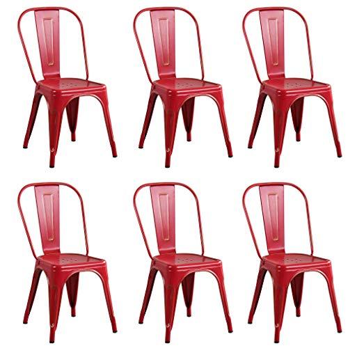 Milani Home s.r.l.s. Set di 6 Sedie in Metallo di Design Moderno Industrial Vintage Colore Rosso Antico Ossidato per Sala da Pranzo Bar Ristorante Soggiorno