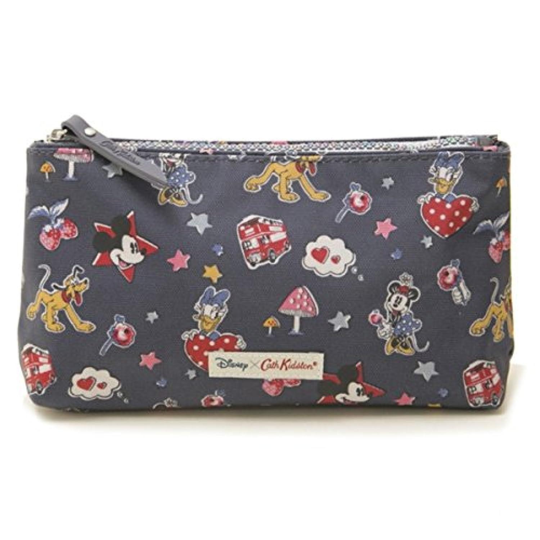 (キャスキッドソン) Cath Kidston ポーチ DISNEY ZIP MAKE UP BAG 734707 Slate Grey Mickey & Minnie Little Patches[並行輸入品]