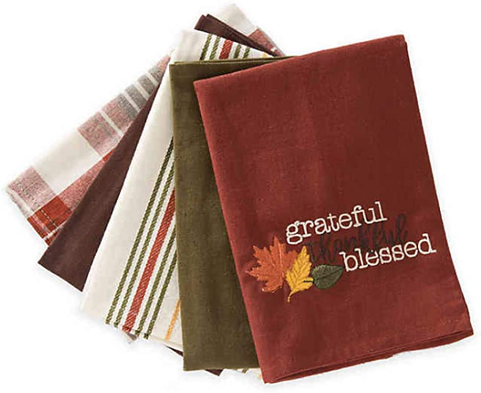 Natco Thanksgiving Towel Set 5 Pack Kitchen Towels Grateful Thankful Blessed Cotton Oversize 18 X 28 Inches Fall Theme Design With Solid Plaid And Stripe