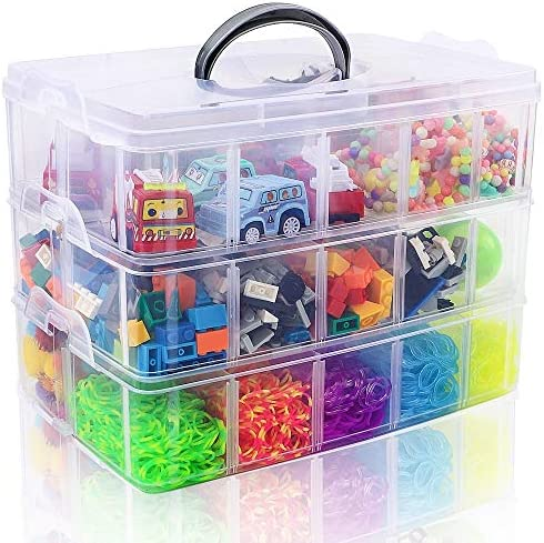 SGHUO 3 Tier Stackable Storage Container Box with 30 Compartments Plastic Organizer Box for product image