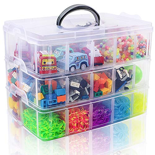 SGHUO 3-Tier Stackable Storage Container Box with 30 Compartments, Plastic Organizer Box for Arts and Crafts, Toy, Fuse Beads, Washi Tapes
