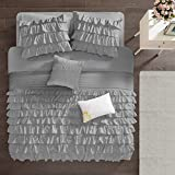 Intelligent Design Cozy Comforter Casual Waterfall Multi Layer Ruffle All Season, Hypoallergenic Cover, Soft Bedding Set with Matching Sham, Decorative Pillow, Twin/Twin XL, Grey