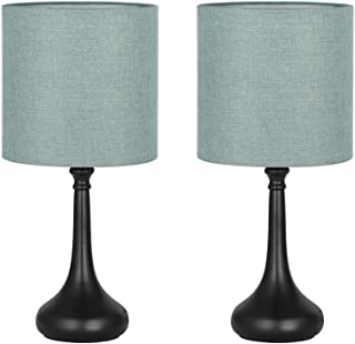 HAITRAL Modern Table Lamps, Vintage Bedside Lamps, Nightstand Lamps Set of 2 for Bedroom, Family Room, Living Room with Metal Base Fabric Lamp Shade - CadetBlue