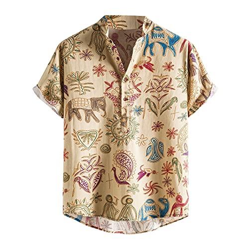Camiseta con Estampado Hawaiano para Hombre Camiseta de Manga Corta con Estampado de Botones Y Costuras de Algodón Y Lino de Verano
