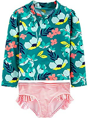 Simple Joys by Carter's Girls' 2-Piece Assorted Rash guard Sets, Floral/Green, 24 Months from Simple Joys by Carter's