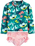 Simple Joys by Carter's Girls' 2-Piece Assorted Rashguard Sets, Floral/Green, 3T