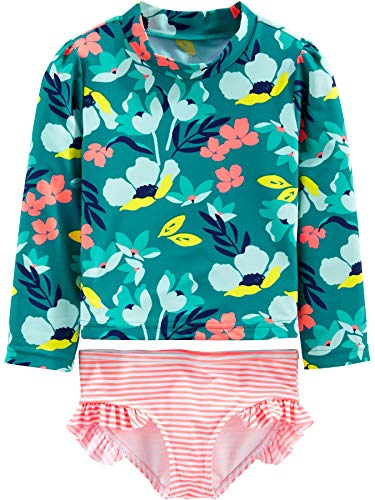 Simple Joys by Carter's Girls' Toddler 2-Piece Rashguard Set, Floral, 4T