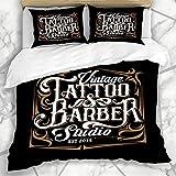 7788 Juego de funda de edredón con diseño vintage y tatuaje para estudio, barbero, tinta de cráneo profesional, marco de microfibra, juego de tres piezas de varios patrones 225 x 225