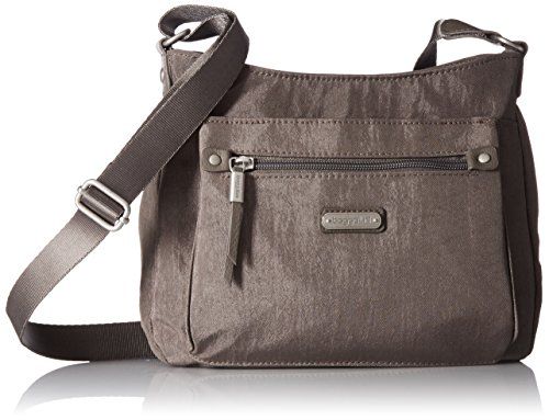 Baggallini Uptown Bagg with RFID Phone Wristlet, Sterling Shimmer