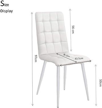 4 chaises de Salle à Manger avec Dossier, chaises de Cuisine, chaises de Salon Modernes en Cuir, Style scandinave, chaises de