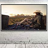 N / A Pintura sin Marco Naturaleza Mujer Paisaje Pistola montaña Arte Seda Cartel de la Pared decoración del hogar44X80cm
