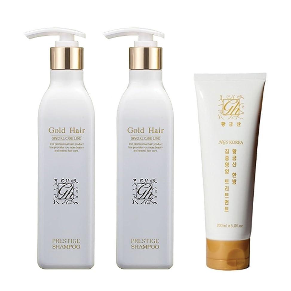 明日楽しむスロットゴールドヘア 育毛ケア シャンプー 2個 &トリートメント 1個 漢方シャンプー 抜け毛ケア/Herbal Hair Loss Fast Regrowth Gold Hair Loss Shampoo x2ea Treatment x1ea Set[海外直送品] [並行輸入品]