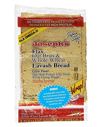 Joseph's Lavash Bread Flax Oat Bran & Whole Wheat Reduced Carb - Plus New Ridiculously Delicious Lavash Bread Recipes! (1 Pack)