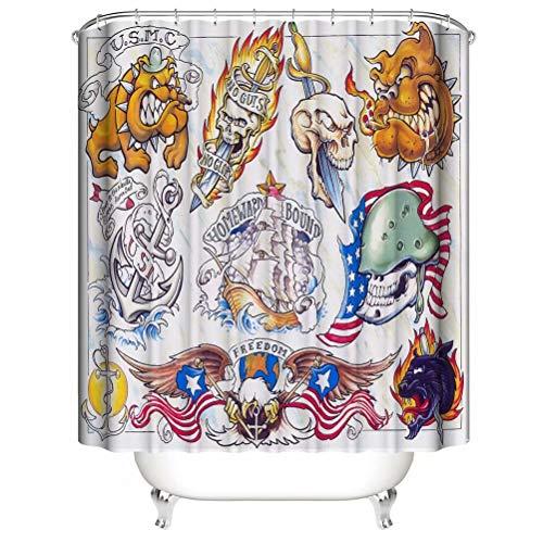ZZZdz Menschlicher Schädel. Segelboot. Monster. Haus Dekoration. Duschvorhang: 180X180 cm. 3D Hd Druck. Wasserdicht. Einfach Zu Säubern. Badezimmerzubehör.