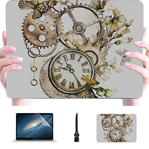 Macbook Air Accessories Steam Punk Watercolor Illustration Wildflowers Keys Plastic Hard Shell Compatible Mac Air 13' Pro 13'/16' 13 Inch Laptop Case Protective Cover For Macbook 2016-2020 Version