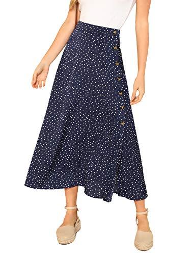 SheIn Women's Polka Dot A-Line Button Side Split Midi Knee Length Skirt Navy