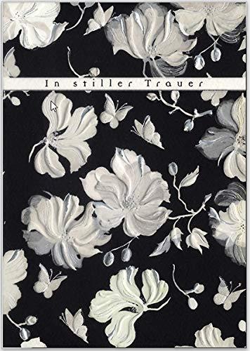 """Hochwertige Trauerkarte\""""In stiller Trauer\"""" von Turnowsky mit weißen Oleander-Blüten. Relief-Klappkarten zum Beschriften mit Umschlag"""