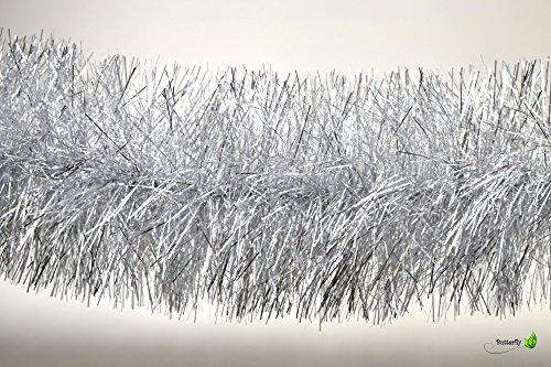 3m Weihnachtsgirlande 15cm silber // Silvester Karneval Weihnachten Deko Christbaumschmuck Girllande Weihnachtsbaum Lametta 150mm