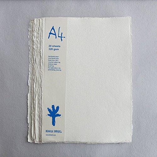 Khadi : Handmade 100% Rag Watercolour Paper : 320gsm : Rough : 20 sheets pack A4