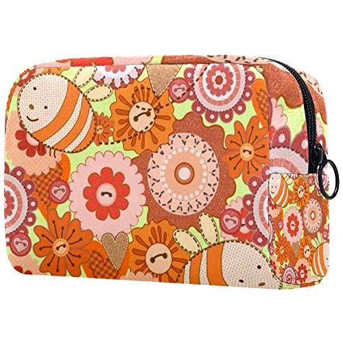 Sac cosmétique mignon d'automne renard oiseau fleur fleur fleur feuille baies coeur imprimé adorable sac de maquillage sac de voyage sac de toilette sac organiseur Couleur 06 7\