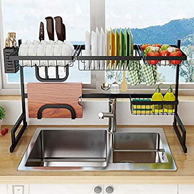Over The Sink Dish Drying Rack With Drain Board, Kitchen Supplies Storage Shelf Drain Rack Counter Organizer, Dish Rack and Drainboard Set, Utensils Cutlery Holder Stainless Steel Display Stand from