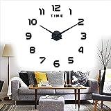 Yolistar Reloj de Pared Moderno DIY, Etiqueta de La Pared del Reloj Mudo 3D, tamaño Grande, Fácil de Montar, para el Hogar, Oficina, Decoración de Pared del Hotel