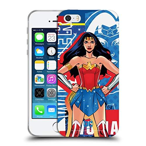 Head Case Designs Ufficiale DC Women Core Wonder Woman Composizioni Cover in Morbido Gel Compatibile con Apple iPhone 5 / iPhone 5s / iPhone SE 2016
