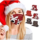 Koippimel 50Pcs, Christmas Disposable Face_Mask for Women Men, Cute Cartoon Printed Breathable 3Ply_Masks with Nose Bridge Strip, High Filtration for Nose and Mouth Full Protection, 1107 Style_079